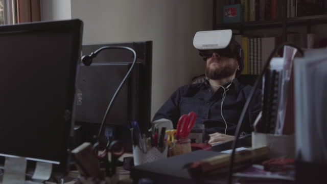 Man with VR headset at the coworking startup office