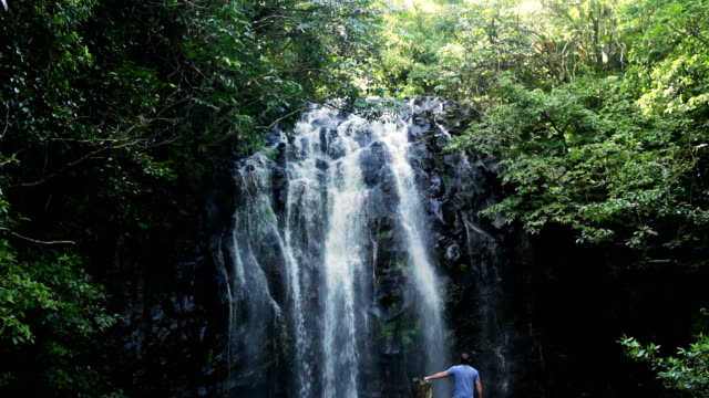man with waterfall - outdoor pursuit stock videos & royalty-free footage