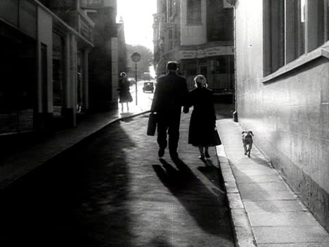 man woman and a small dog walk away from camera up a side street - couple relationship stock videos & royalty-free footage