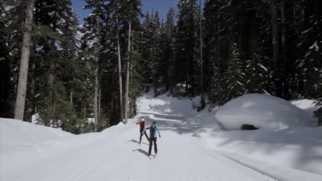 ws pov man woman skiing / whistler, bc, canada - längd bildbanksvideor och videomaterial från bakom kulisserna