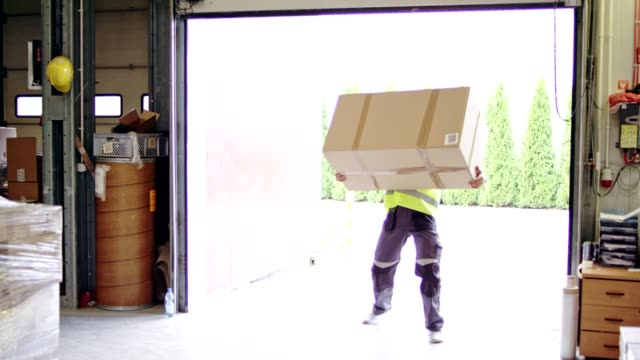 man working at a warehouse. carrying heavy boxes - portare video stock e b–roll