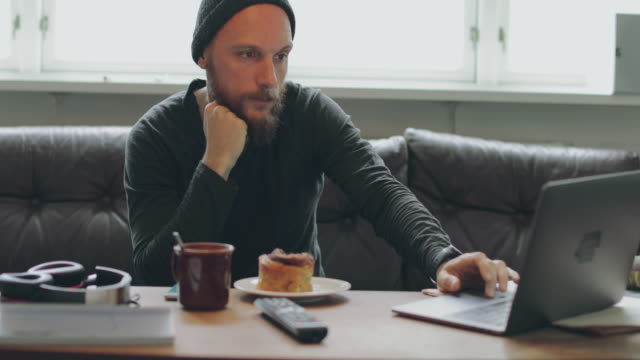 働く男性のノートパソコンをご自宅で  - オーレスン地域点の映像素材/bロール