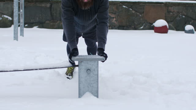 a man working out in snow - peter snow stock videos & royalty-free footage