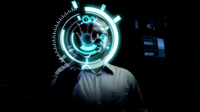man works with futuristic screen. - projection screen stock videos and b-roll footage