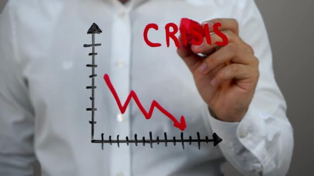 vídeos de stock e filmes b-roll de man writing on transparent screen,handwriting ''crisis'' - representação gráfica