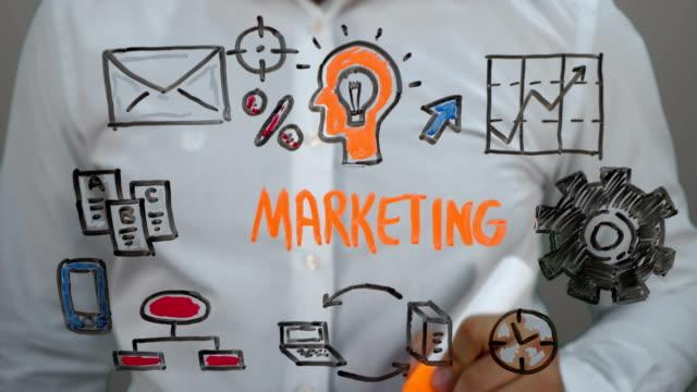 man writing on transparent screen,handwriting ''marketing'' - marketing stock videos & royalty-free footage