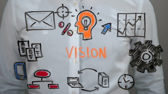 man writing on transparent screen,handwriting ''vision'' - business strategy stock videos and b-roll footage