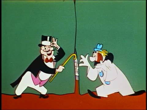 """vídeos y material grabado en eventos de stock de animation man w/top hat and clown open curtain exposing popcorn stand / 'its intermission time"""" sign - palomitas"""