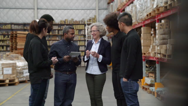 manager and workers discussing in warehouse - warehouse stock videos & royalty-free footage