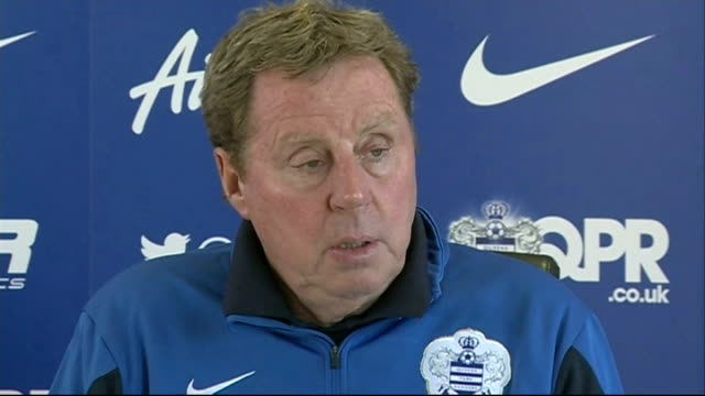 QPR Manager comments on Rio Ferdinand ban for Twitter comments ENGLAND London INT Harry Redknapp press conference SOT Thought he was going to appeal...