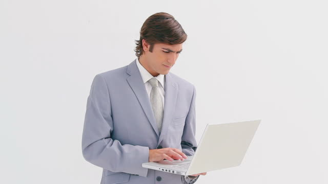 Manager holding his laptop