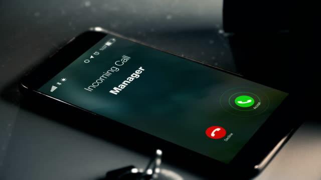 vídeos y material grabado en eventos de stock de gerente es llamada como una llamada perdida - recordatorio