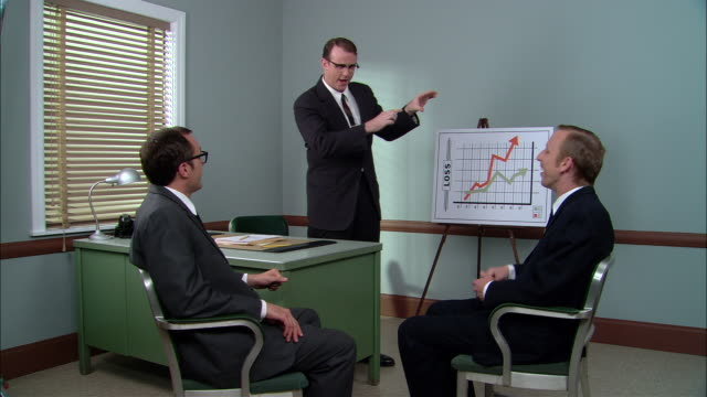 ms  manager standing in front of loss graph in with two businessmen in meeting/ manager turning graph on side so arrows go upward/ manager angrily talking to men/ new york city - easel stock videos and b-roll footage