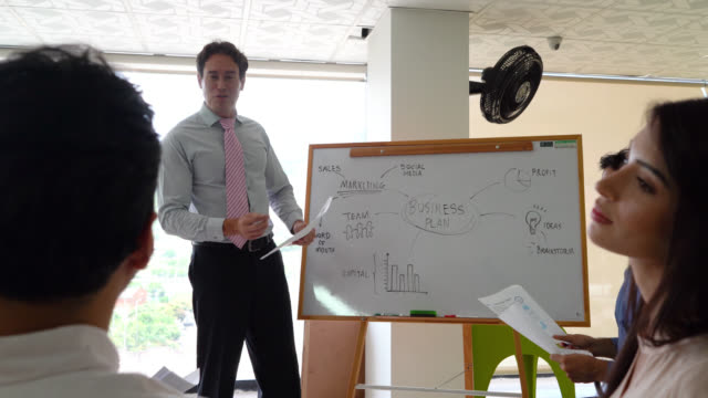 manager training his team holding documents and using a white board as a visual aid to present a business plan - business strategy stock videos & royalty-free footage