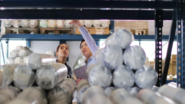 manager training new employee in a packing warehouse - textile industry stock videos & royalty-free footage