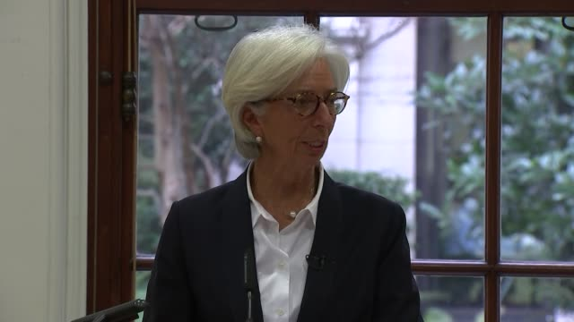 IMF Managing Director Christine Lagarde press conference ENGLAND London HM Treasury Feed begins abruptly missing start of press conference] Philip...