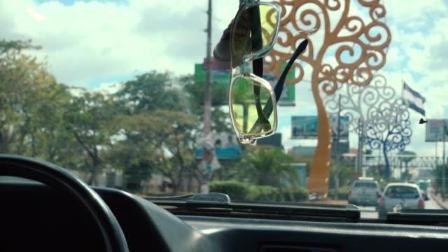 managua tree avenue from a car - managua stock videos & royalty-free footage