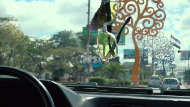 managua tree avenue from a car - マナグア点の映像素材/bロール