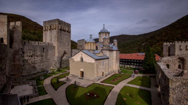 manasija monastery timelapse - fort stock videos and b-roll footage