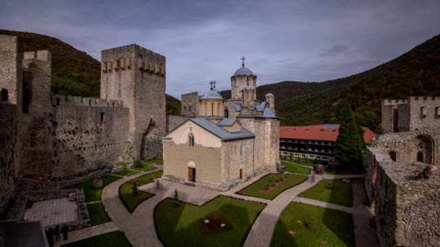 manasija monastery timelapse - fortress stock videos & royalty-free footage