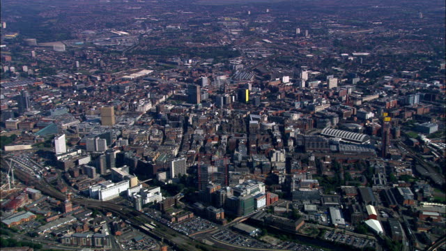 manchester  - aerial view - england, manchester, united kingdom - manchester england stock videos & royalty-free footage