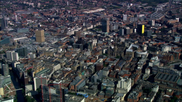 manchester  - aerial view - england, manchester, united kingdom - manchester england stock videos and b-roll footage