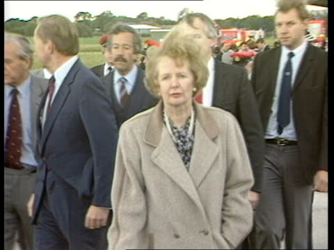 c england manchester ringway officials crowded around wreckage on tarmac cordoned off ms margaret thatcher lr around cordon and talking to officials... - cordon boundary stock videos & royalty-free footage