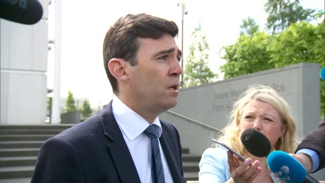 Andy Burnham press conference ENGLAND Manchester Greater Manchester Police Force Headquarters EXT Andy Burnham press conference SOT