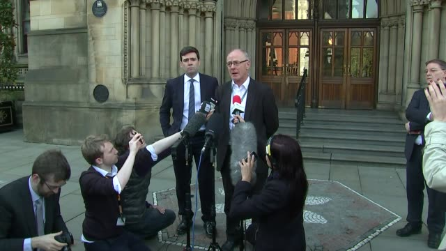 Andy Burnham statement ENGLAND Manchester Manchester Town Hall EXT Andy Burnham statement to press SOT on terror attack at Ariana Grande concert at...