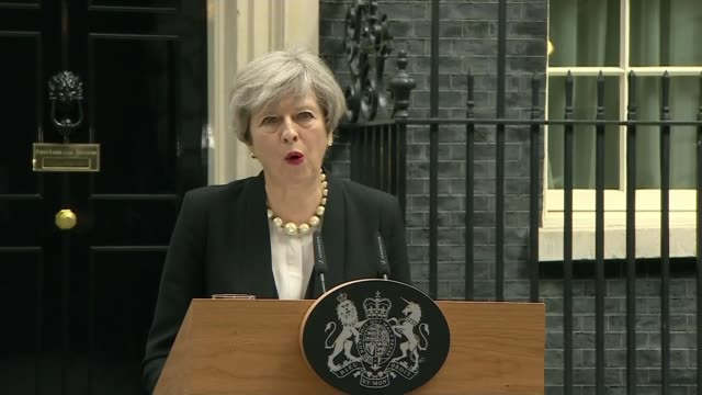 london downing street ext theresa may along to podium theresa may statement sot all acts of terrorism are cowardly attacks on innocent people but... - greater london stock videos and b-roll footage