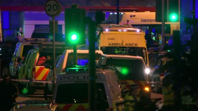 former friend of salman abedi says that he could have been stopped / police investigation continues 2252017 various of emergency service vehicles on... - manchester arena stock videos & royalty-free footage