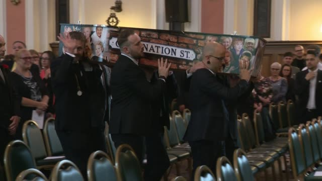 Funeral of victim Martyn Hett ENGLAND Stockport Stockport Town Hall INT Coffin of Martyn Hett being carried by pallbearers at funeral Jennie McAlpine...