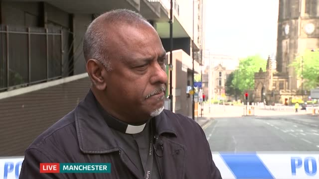 ITV News Special 0925 1025 Manchester Deansgate Very Reverend Rogers Govender LIVE interview SOT Rupert Evelyn to camera SOT London GIR Nina Hossain...