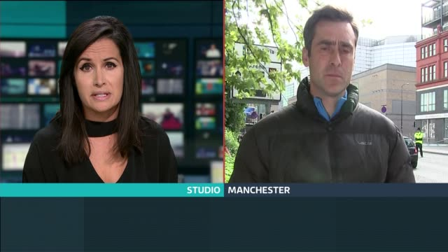 itv news special 0925 1025 split screen studio nina hossain to camera sot / damon green in manchester manchester ext damon green to camera sot - damon green stock videos and b-roll footage