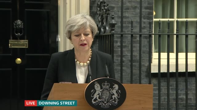 itv news special 1030 1130 downing street ext theresa may from number 10 and making statement sot i have just chaired a meeting of the government's... - itv news at one stock videos & royalty-free footage
