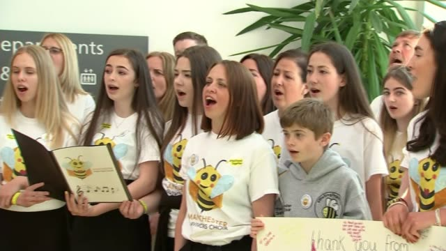 one year anniversary england manchester int various of manchester survivors' choir performing song sot - chorsänger stock-videos und b-roll-filmmaterial