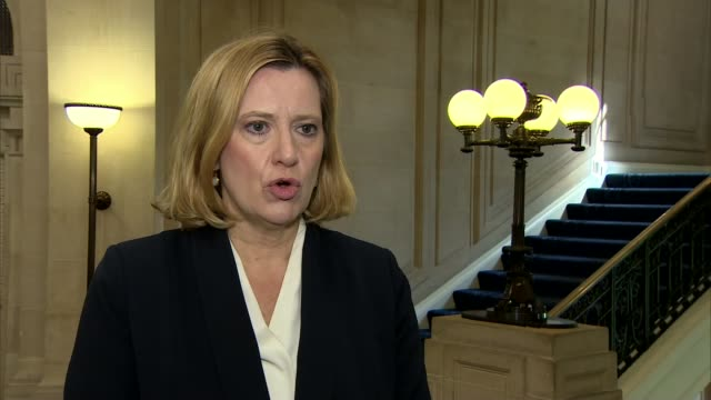 police investigation continues / mi5 to review procedures westminster int amber rudd interview sot - イギリス情報局保安部点の映像素材/bロール