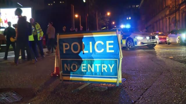 manchester arena attack report criticises some media r230517003 / 2252017 various shots of police and ermegency service vehicles at scene of... - manchester arena stock videos & royalty-free footage