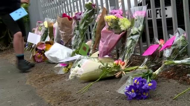 stories of victims emerge lancashire preston ext child along leaving floral tribute for saffie roussos close shot note - richard pallot stock-videos und b-roll-filmmaterial