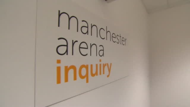 "manchester arena inquiry room that, empty, that is looking into the manchester arena terror attack in 2017 - ""bbc news"" stock videos & royalty-free footage"