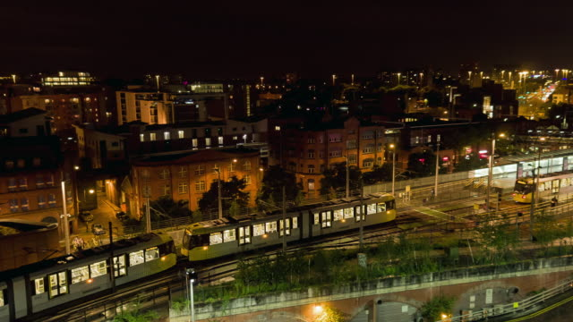 manchester at night tram - manchester england stock videos & royalty-free footage