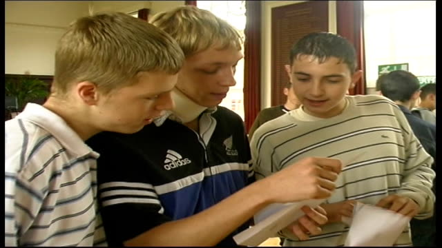 manchester: audenshaw school: boys reading gcse results letters - general certificate of secondary education stock videos & royalty-free footage