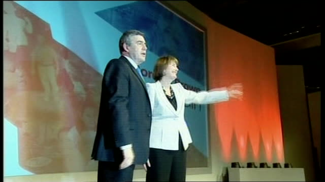 bridgewater hall photography** brown standing on stage with harriet harman mp - bridgewater hall stock videos & royalty-free footage