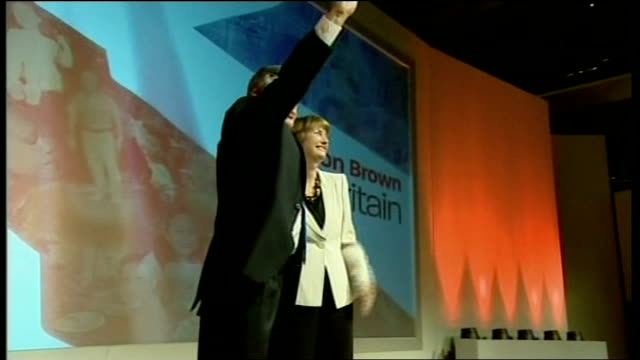bridgewater hall int brown and harriet harman mp on stage at labour party special conference - bridgewater hall stock videos & royalty-free footage