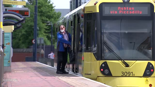 manchester buses and trams gvs; england: manchester: eccles: gvs trams along - tram stock videos & royalty-free footage