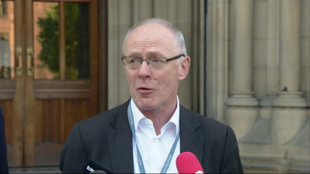 Manchester City Council leader Richard Leese giving his statement on the Manchester Arena bombing