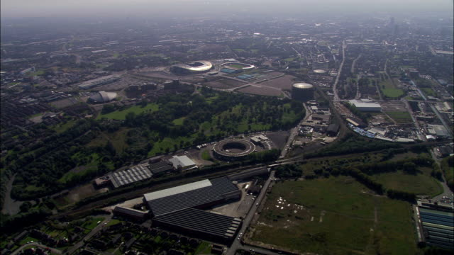 manchester city fc  - aerial view - england, manchester, united kingdom - manchester england stock videos & royalty-free footage
