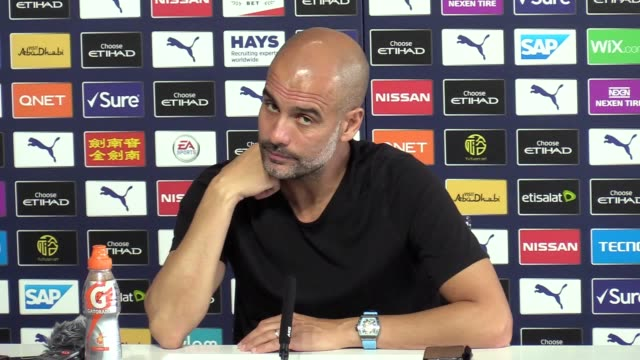 manchester city head coach pep guardiola looks ahead to their game with bournemouth on sunday august 25. city were denied victory by var in their... - var点の映像素材/bロール