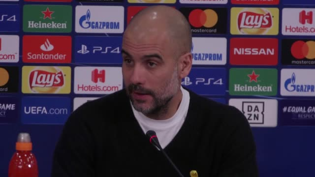 stockvideo's en b-roll-footage met manchester city manager pep guardiola agrees with the var decision that led to a penalty in the his side's match versus schalke in the champions... - var