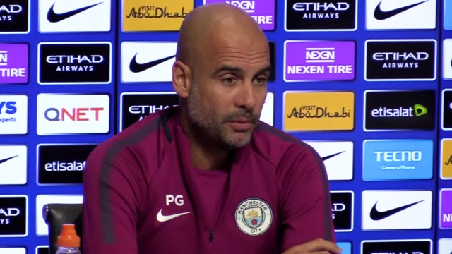 Manchester City manager Pep Guardiola gives a press conference ahead of the team's Premier League game against Leicester